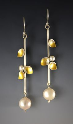 Jasmine Pearl Earrings by Judith Neugebauer. These earrings are created with sterling silver, 23K gold leaf, and freshwater pearl.