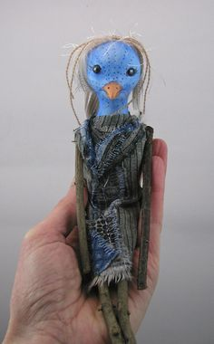 Hey, I found this really awesome Etsy listing at https://www.etsy.com/listing/225588539/folk-art-blue-bird-doll-cloth-clay-paint
