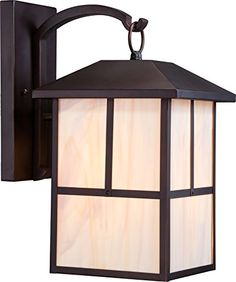 Nuvo Lighting 605673 Tanner Large One Light Wall Lantern 100watt A19 Outdoor Porch and Patio Lighting with Honey Stained Glass Claret Bronze -- Want additional info? Click on the image.