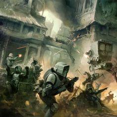 urban combat - star wars artwork painted by digital artist kai lim