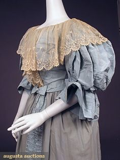 Ballgown (image 3)   House of Worth   France; Paris   1890s   silk faille, lace, wool challis   Augusta Auctions   May 2007/Lot 557