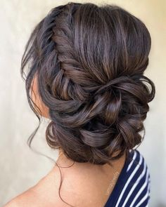 wedding hairstyles bride 33 Wedding Updos With Braids wedding updos with braids low curly updo on dark hair samirasjewelry Quince Hairstyles, Bride Hairstyles, Curly Updo Hairstyles, Brunette Wedding Hairstyles, Bridesmaid Hair Brunette, Hairstyles For Weddings Bridesmaid, Brunette Bridal Hair, Curly Hair Braids, Classy Hairstyles