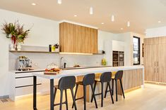 Harry and Tash contemporary kitchen on The Block 2020 Kitchen Island Bench, Kitchen Benches, Timber Kitchen, The Block Kitchen, The Block Australia, Green Cabinets, Australian Homes, Cool Rooms, Cool Kitchens
