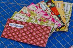 Cash envelopes to sew! I have been putting off making these for sooo long...I need to make some!
