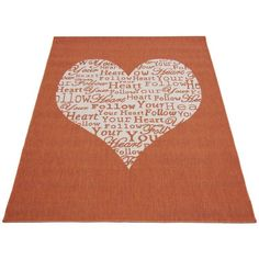 Buy Follow Your Heart Rug - 80x150cm - Terracotta at Argos.co.uk - Your Online Shop for Rugs and mats, Home furnishings, Home and garden.