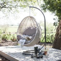 Wallace Sacks Brighton Hanging Rattan Pod Chair With Stand - Wallace Sacks from Wallace Sacks UK