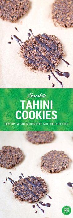 Chocolate Tahini Cookies | WIN-WINFOOD.com A must make for all tahini lovers! Chewy, chocolatey and secretly #healthy. #vegan, #oilfree #glutenfree