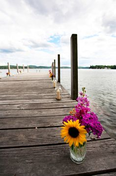 Lakeside Rustic Wedding - Rustic Wedding Chic.  Is there a dock you can have the ceremony on ?