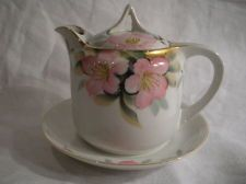 Spectacular Syrup Pitcher w/ Lid & Underplate by Noritake in the Azalea Pattern