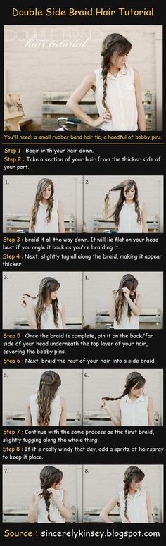 Double Side Braid Hair Tutorial Steps : Begin with your hair down. Take a section of your hair from the thicker side of your part. Side Braid Hairstyles, Down Hairstyles, Pretty Hairstyles, Easy Hairstyle, Side Braid Tutorial, Coiffure Hair, Do It Yourself Fashion, Gorgeous Hair, Beautiful