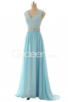 Muted Blue Lace Appliques Beaded Long Chiffon Prom Dress