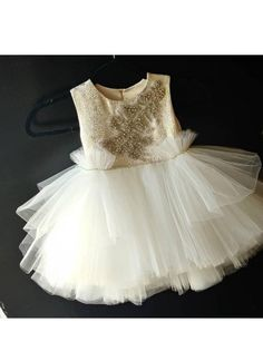 "Stunning flower girl dress ""Amelia"" with gold top and ivory pouffy tulle skirt, Easter dress, birthd Frilly Skirt, Gold Top, Easter Dress, Custom Dresses, Birthday Dresses, Couture Dresses, Amelia, White Lace, Beautiful Dresses"