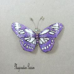 magnet recycled plastic butterfly cm purple, white Minerva 1 Magnet: wall hanging, curtains, lamp shade, made in France Big Butterfly, Violet, Light Purple, Decoration, Magnets, Recycling, Curtains, Silver, How To Make