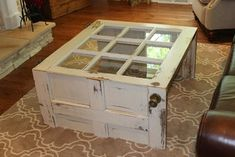 Salvaged Door into Coffee Table