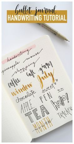 Bullet journaling handwriting tutorial: brush lettering and cursive Bullet Journal Planner, Bullet Journal Writing, Bullet Journal Notes, Bullet Journal Printables, Bullet Journal School, Bullet Journal Layout, Bullet Journal Cursive, Bujo, Journal Inspiration