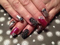 Gel nails, caviar beads/ micro beads, rhinestone, pinks, silver, glitter