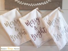 Christmas Kitchen Towels 3 Merry & Bright Towels * Includes Our 2018 WISH Gift Tag  Brighten your Christmas decor with our {MERRY & BRIGHT} towel or share with someone special. We love the look of unique hand printed textiles in our home and know you will appreciate our towels for