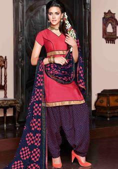 USD 30.25 Pink Cotton Satin Punjabi Suit 47613