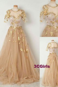 Champagne tulle applique short sleeves long dress