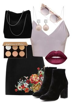 """me?!?"" by lizzierose25 ❤ liked on Polyvore featuring River Island, Witchery, Gucci, Lime Crime, Jankuo, Jimmy Choo and Anastasia Beverly Hills"