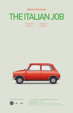 1967 Mini Cooper S from the movie The Italian Job #moviecarposters