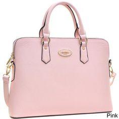a1914265d625 Dasein Faux Leather Slim Rolled Handle Removable Strap Briefcase Satchel  Handbag