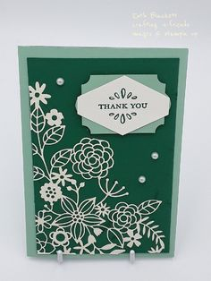 Delightfully detailed laser-cut DSP, detailed with love stamp set, stampin up with mint macaron and shaded spruce cardstock and One Sheet Wonder, Laser Cut Paper, Specialty Paper, Thanks Card, Lazer Cut, Paper Design, Paper Cards, Paper Cutting, Paper Flowers