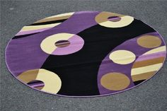 Round Area Rugs, Modern Area Rugs, Beige Carpet, Home Automation, Modern Contemporary, Ivory, Kids Rugs, Abstract, Purple