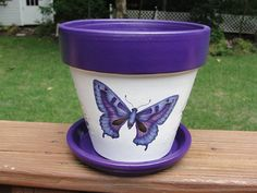 Butterfly Flower Pot Six Inch Painted by EllensClayCreations, $25.00
