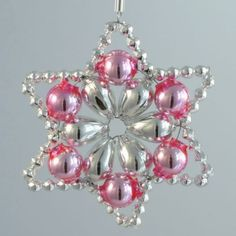 Flower Star Ornament Glass Bead Project Kit ~ Silver and Pink ~ Czech Republic Beaded Christmas Decorations, Christmas Ornament Crafts, Snowflake Ornaments, Star Ornament, Beaded Ornaments, Holiday Ornaments, Diy Ornaments, Glass Ornaments, Beaded Crafts