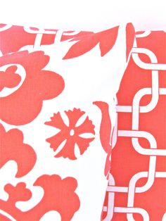 PILLOWS SET of 2 18x18 CORAL Decorative Throw by SayItWithPillows, $31.95