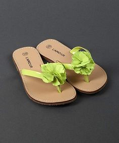 3d88ef5350ff9b L Amour Shoes Lime Blossom Leather Flip-Flop