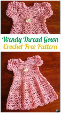 Crochet Wendy Thread Gown FreePattern - Crochet Girls Dress Free Patterns