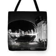 The Cloud Gate (aka the Bean in Chicago) At Night Tote Bag by Laura Kinker