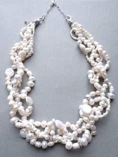 Wedding set - Multi strand Freshwater Pearl Necklace and matching Earrings with rhinestones, reserved for Adrienne