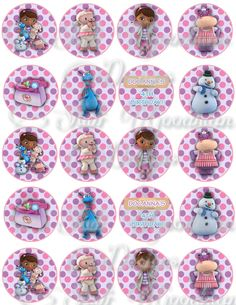 "Doc Mcstuffin Printable 2.0"" Circles cupcake toppers labels. $2.00, via Etsy."