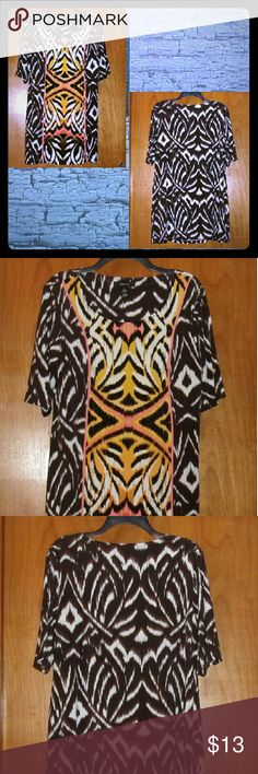 "Style & company brown print dress sz large Bust 42"". Length 34"". Polyester spandex blend. In like new condition. Style & Co Dresses"