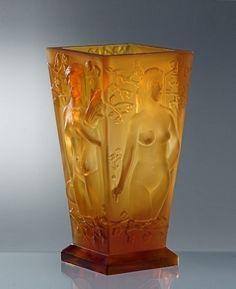 Glamorous French Art Deco Dancing Nudes Bohemian Amber Glass Vase   eBay