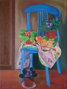 Título: Silla azul con plantas y frutas. Propietario: Montse Ruíz