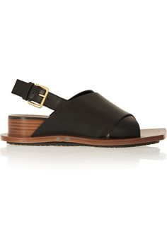 Marni | Leather wedge sandals  | NET-A-PORTER.COM
