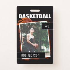 Flaming Basketball Personalized Photo badge - photo gifts cyo photos personalize