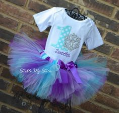 Winter ONEderland Purple, Lilac, Turquoise, and Aqua Snowflake Birthday Tutu Outfit, Snowflake Party, Winter Wonderland Birthday Outfit