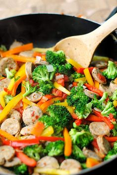 spicy sausage & veggie stir fry.