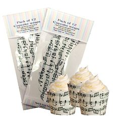 12 x Musical Notes Cupcake wraps design music cake decoration simply topps
