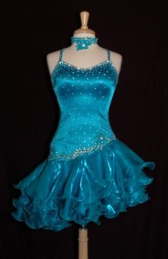 Blue Ruffled Latin Dress