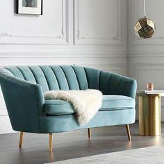 Mid Century Modern. Art Deco. Scalloped Backrest Arm Velvet Chesterfield Love Seat Teal Blue Sofa Chair Brass Legs. New Handmade. | Vinterior