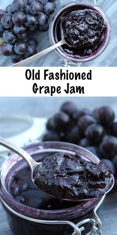 Old Fashioned Grape Jam Recipe ~ Grape Jam Recipe with No Added Pectin ~ Concord Grape Jam or any other grape variety Old fashioned grape jam is packed with flavor. The grape skins add lovely color and give the finished jam a fabulous texture. Concord Grape Jelly, Concord Grape Recipes, Homemade Grape Jelly, Grape Jelly Recipe No Pectin, Salsa Dulce, Jam And Jelly, Jelly Recipes, Canning Recipes, Sweets