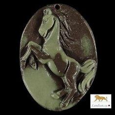 Hand-carved Horse Ribbon Jasper Pendant & Necklace / Reg Price $129.95