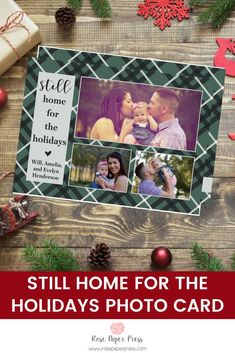 Still home for the holidays? Share holiday greetings with Plaid holiday photo cards. Need to add more pictures or share a detailed message? Add a complementary custom back upgrade. We design, personalize, and professionally print your holiday cards for you. Shop Holiday Cards today.