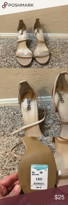 Abound heels Brand new. Never worn. Nude patent leather strappy sandals. Fit more like a size 12m even though they are sized at a 13m Abound Shoes Sandals